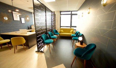 Salle d'attente centre de cryothérapie corps entier Lyon Gerland CRYO Advance