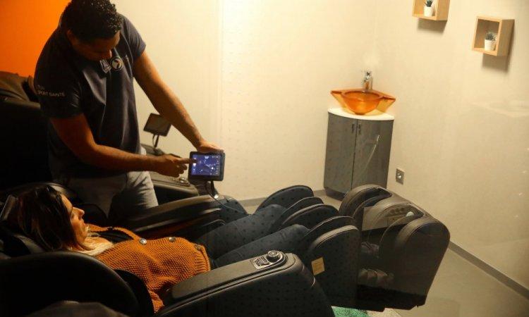 Après votre séance de cryothérapie corps entier vous accèderez à nos espaces de détente pour votre massage sur fauteuil programmé par nos soins